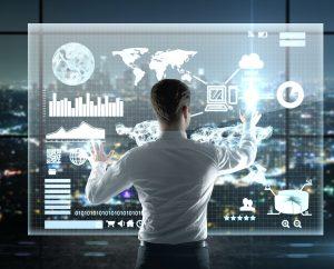 businessman presses interface, high resolution
